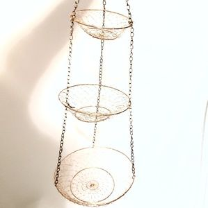 Vintage | Copper Wire Hanging Fruit Baskets
